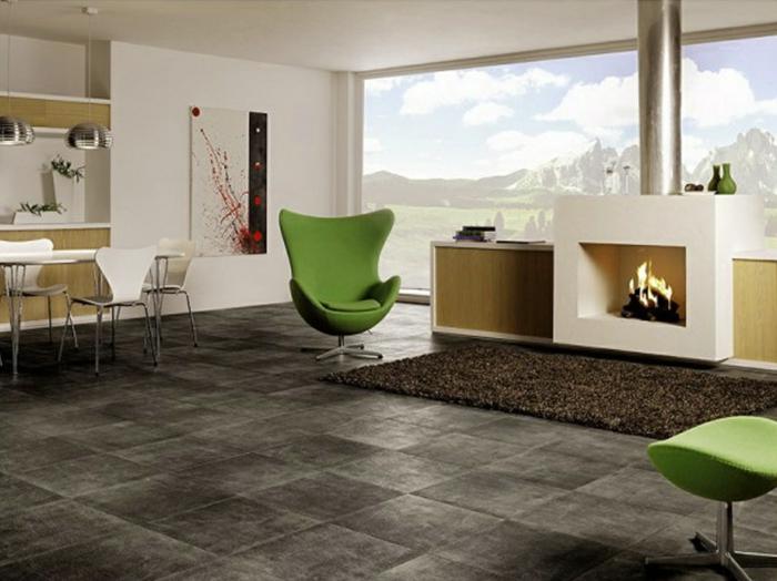 keramikfliesen wohnideen wohnzimmer grüne möbel