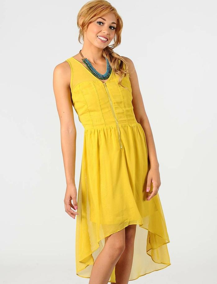 kleid gelb chiffon mittellang frauenmode