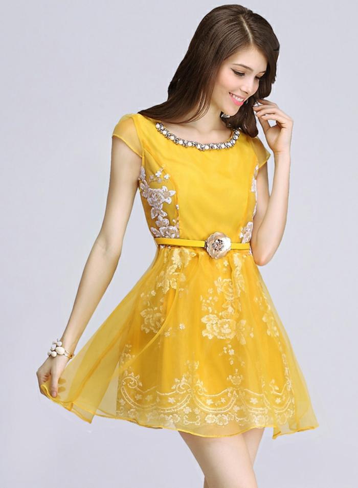 kleid gelb kurz modell luftig jugendhaft