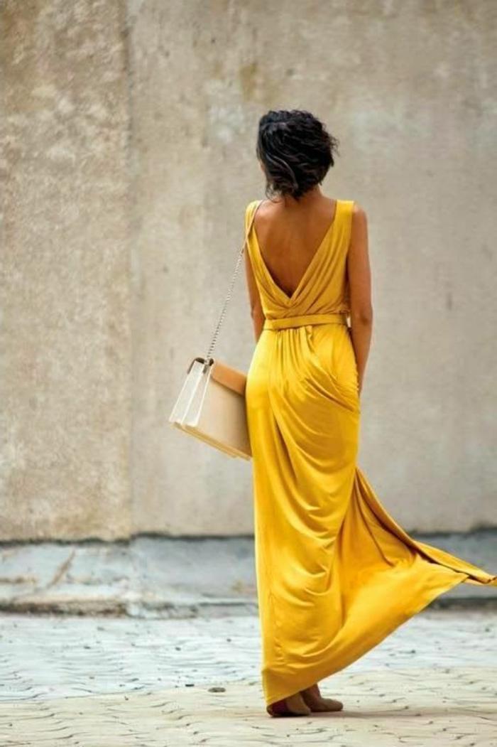 kleid gelb lang elegant kleider trends frauenmode