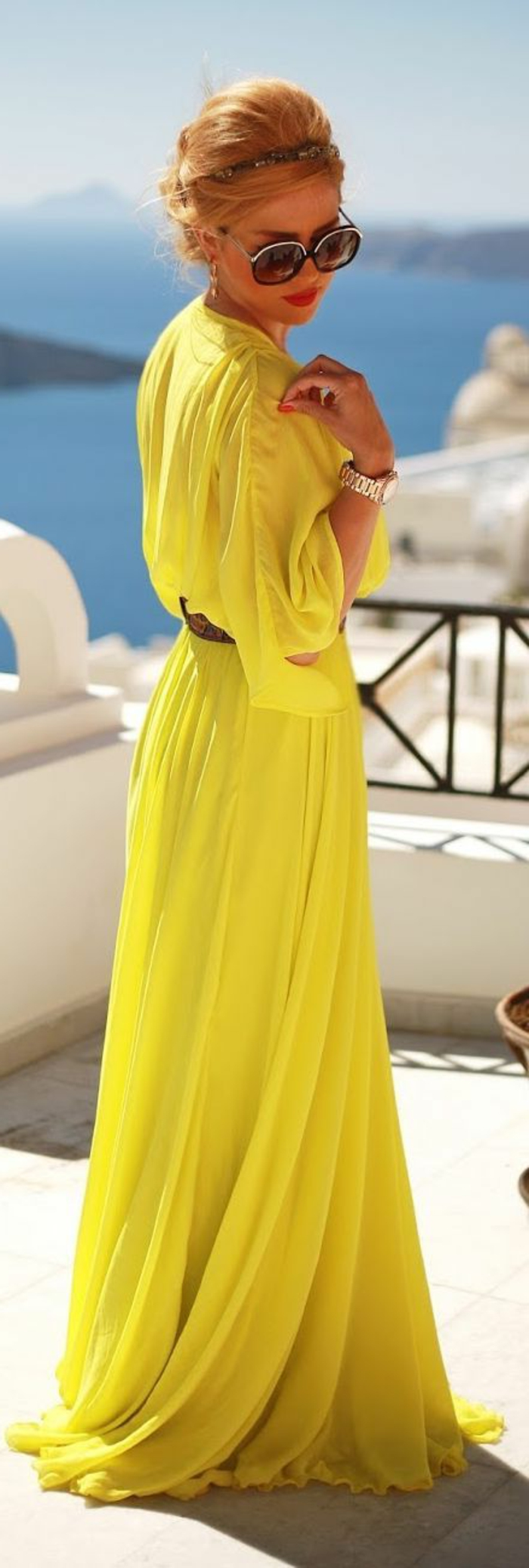 kleid gelb lang frauen modetrends lifestyle