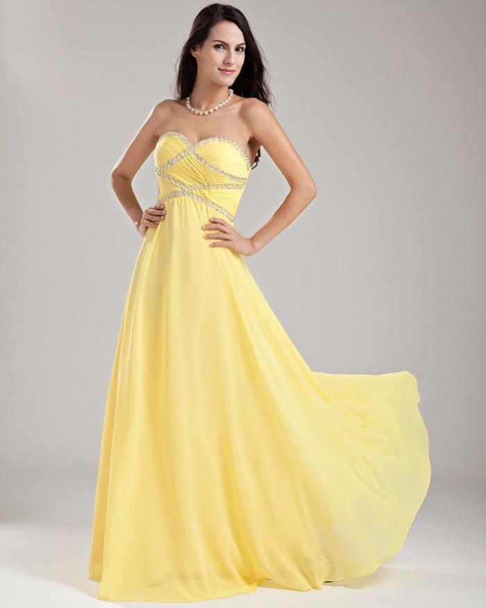 kleid gelb langes modell chiffon elegant anlass
