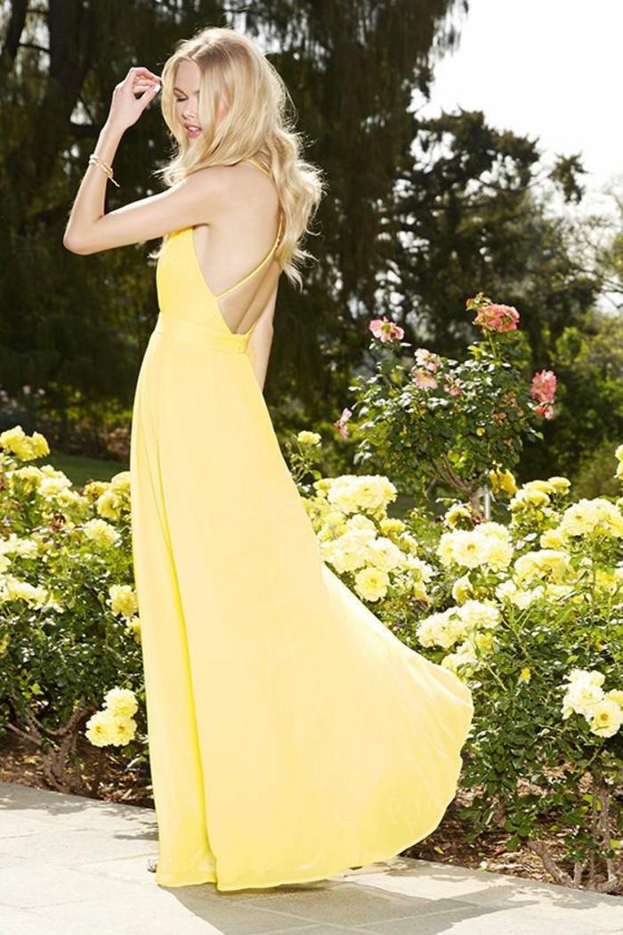 kleid gelb langes modell kein rücken frauenmode