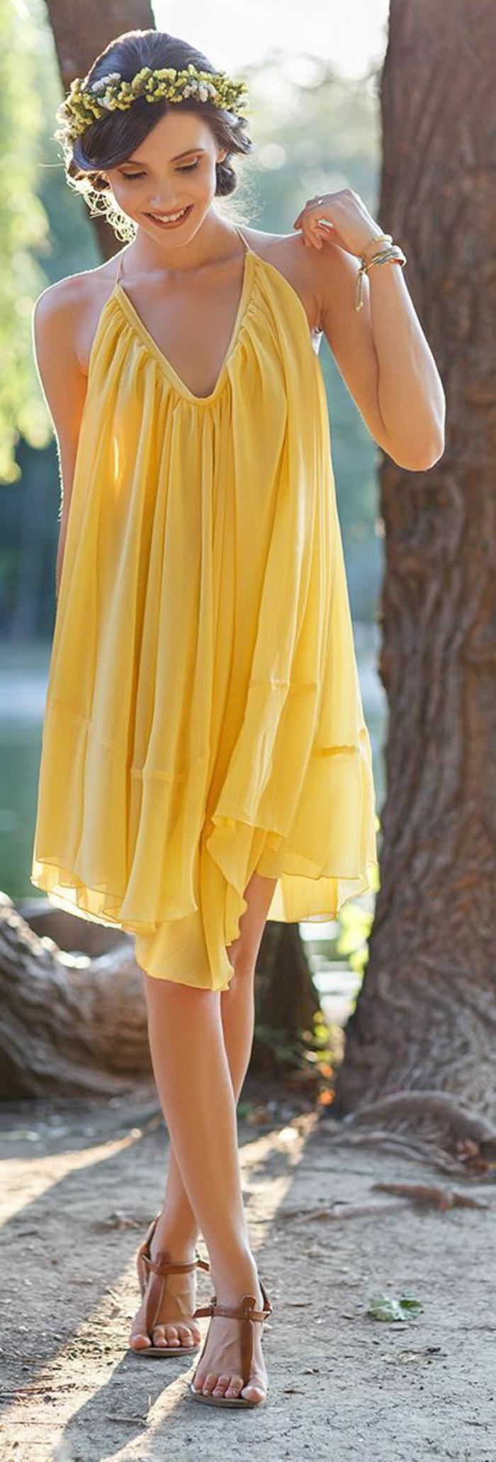 kleid gelb luftig weiblich frauenmode