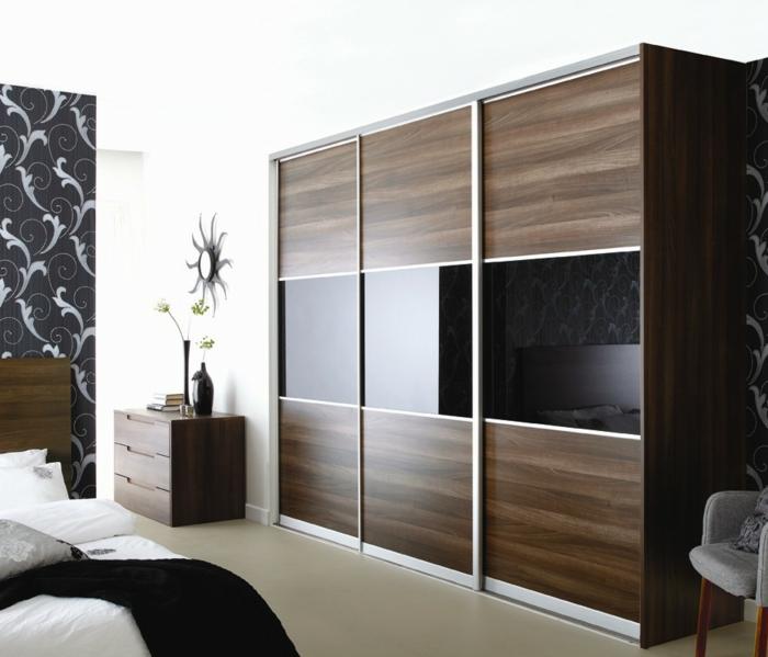 kleiderschrank design braun schwarze spiegeloberflächen elegant