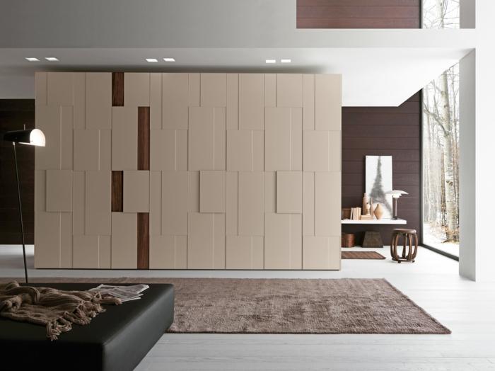 kleiderschrank design elegant brauner teppichläufer gemütlich
