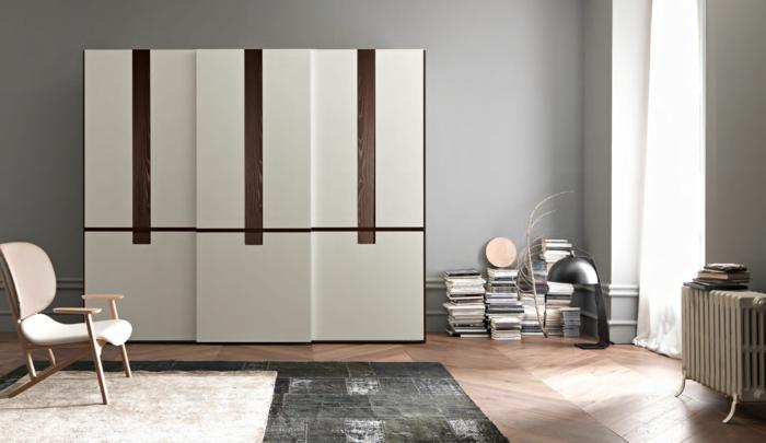 kleiderschrank design elegant weiß braun teppiche graue wände