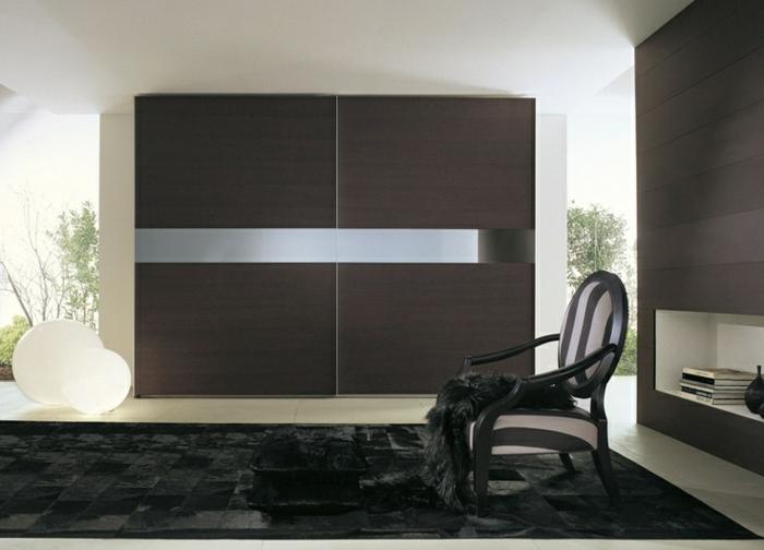 kleiderschrank design elegante frontseite schwarzer teppich coole leuchten