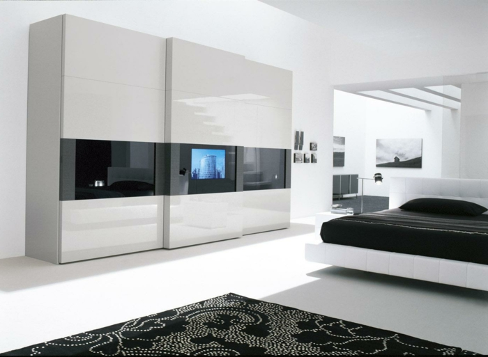 kleiderschrank design ideen weiße schwarz wohnideen schlafzimmer