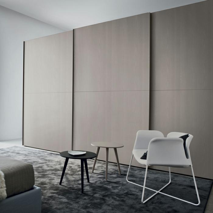 kleiderschrank design minimalistisch beige elegant teppich beistelltische