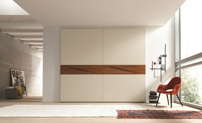 kleiderschrank design modern schlicht teppichläufer wohnideen