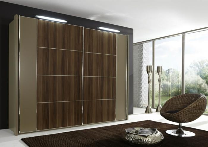 kleiderschrank design schiebetüren beleuchtung brauner teppich