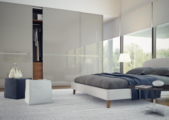 kleiderschrank design schiebetüren eleganter streifenteppich schlafzimmer