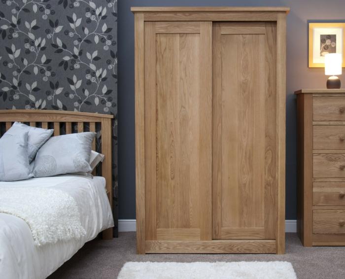 kleiderschrank design schiebetüren holz wohnideen schlafzimmer