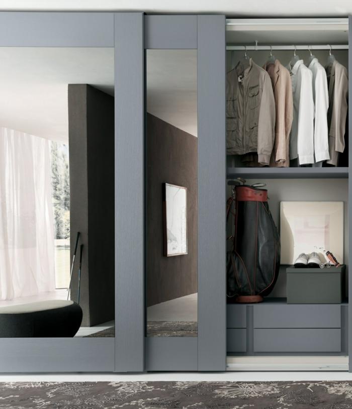kleiderschrank design schiebetüren spiegel wohnideen schlafzimmer