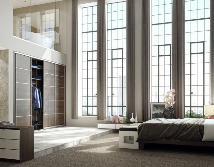 kleiderschrank design schiebetüren teppichboden ausgefallene architektur