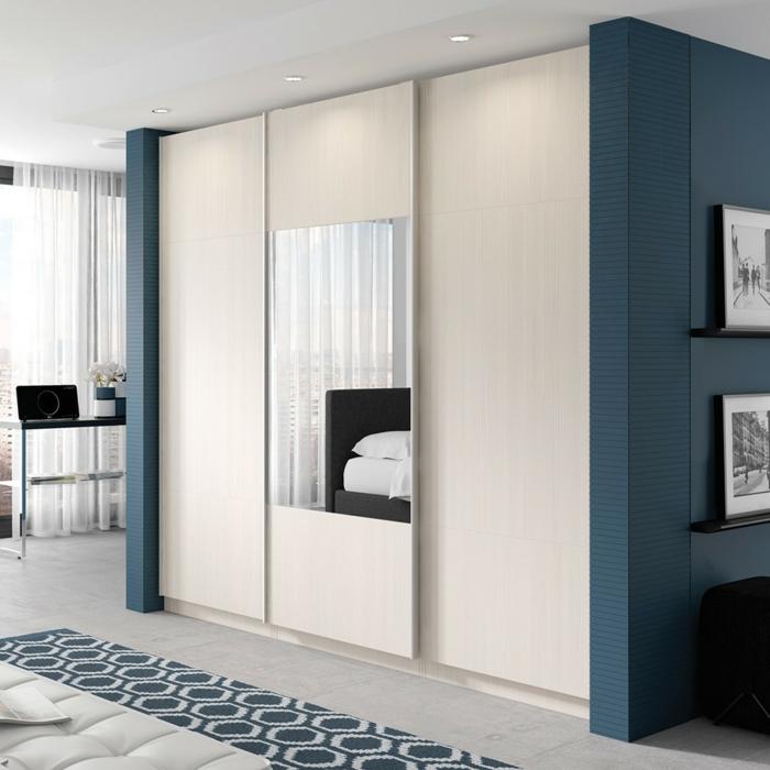 kleiderschrank design schiebetüren weiß spiegel