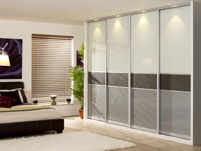kleiderschrank design schlafzimmer einrichten ideen schiebetüren weißer teppich