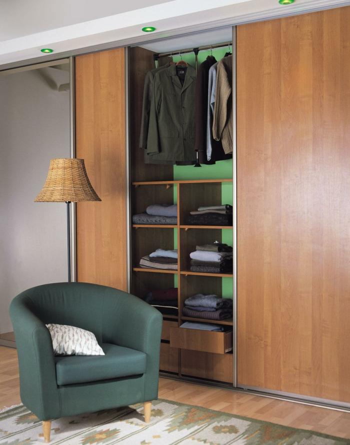 kleiderschrank design schlafzimmer einrichten schiebetürenkleiderschrank holz