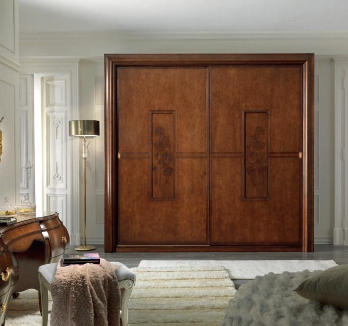 kleiderschrank design traditionell schiebetüren braun rustikal