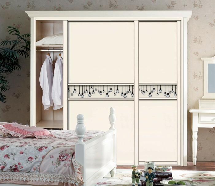 kleiderschrank design weiß elegant schiebetüren schlafzimmer pflanzen