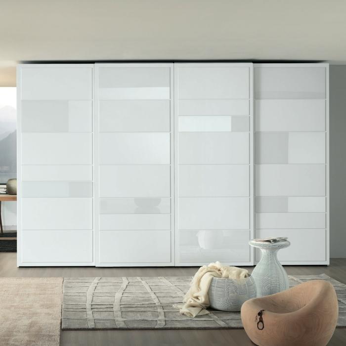 kleiderschrank design weiß gleittüren elegant wohnideen schlafzimmer