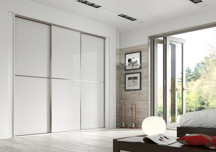 kleiderschrank design weiß minimalistisch schiebetüren wohnideen