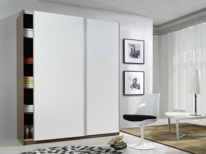 kleiderschrank design weiß schiebetüren wohnideen schlafzimmer
