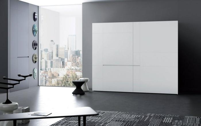 kleiderschrank design weiß stilvoll modern minimalistisch