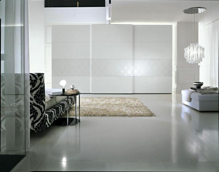 kleiderschrank design weiß stilvoll weißer boden wohnideen schlafzimmer