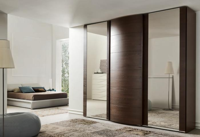 kleiderschrank design wohnideen mobiliar stilvoll frontseite spiegel