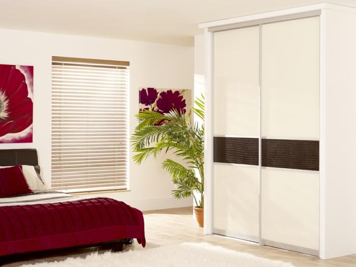 kleiderschrank design wohnideen schlafzimmer rote akzente