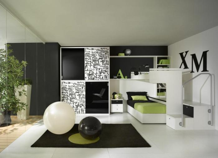 kleiderschrank schwarz wohnideen jugendzimmer weißer bodenbelag
