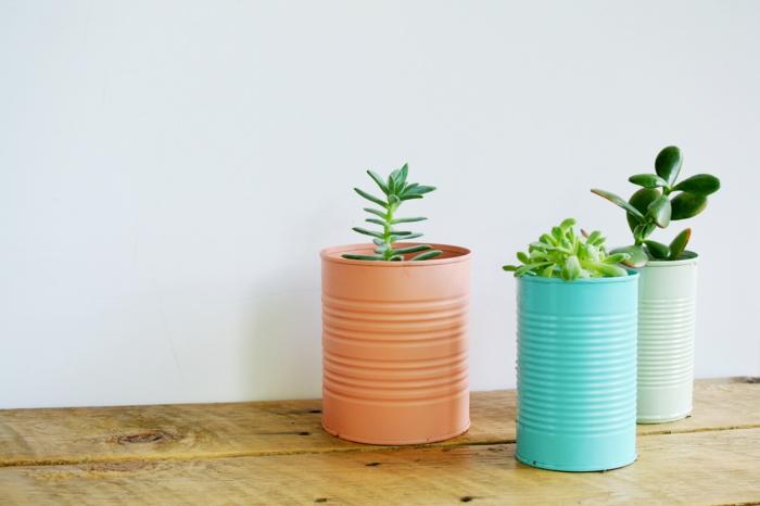 kreative bastelideen alte dosen pflanzenbehälter dekoideen