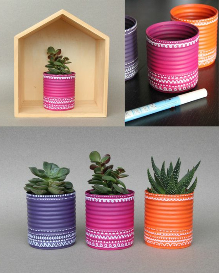 kreative bastelideen alte dosen wiederverwenden farbig machen pflanzenbehälter
