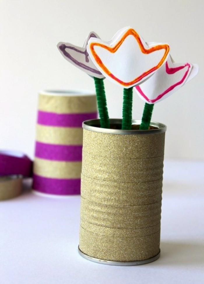 kreative bastelideen dekoideen vase blumen