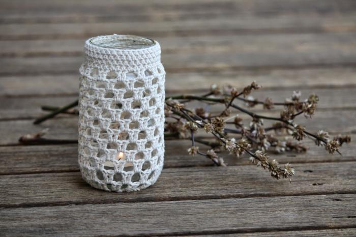 kreative bastelideen häkeln häkelarbeit einmachglas kerze