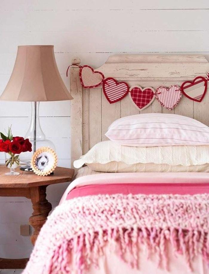 kreative bastelideen schlafzimmer dekoideen rosa akzente