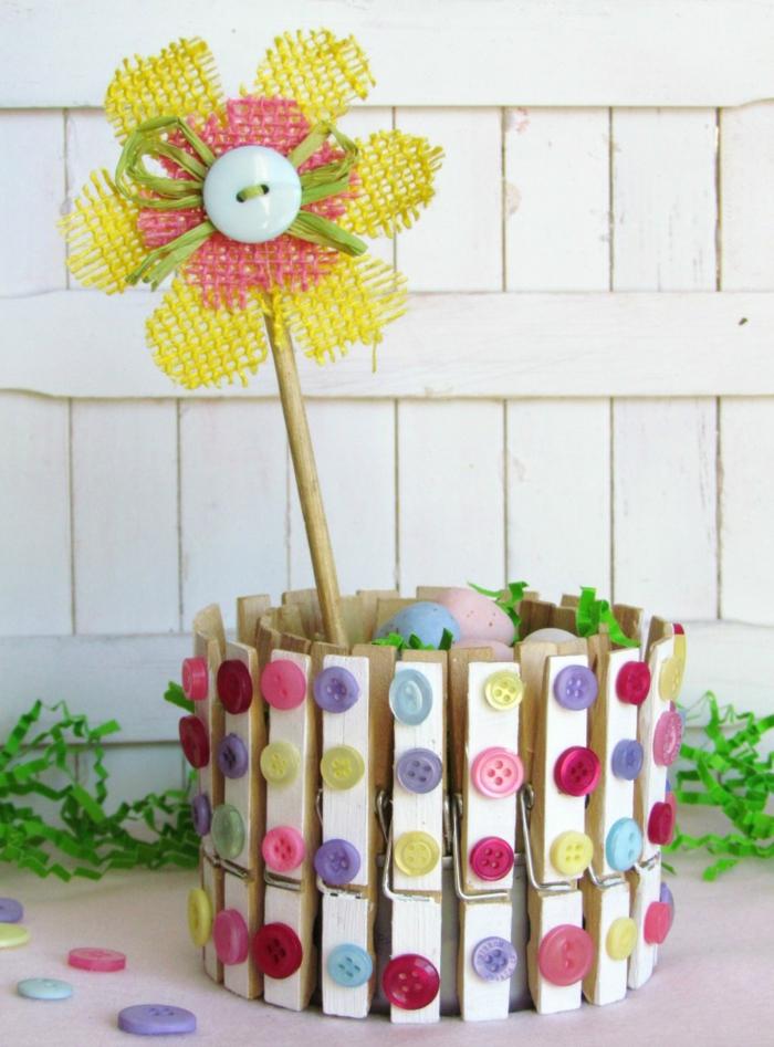kreative bastelideen wäscheklammer pflanzentopf gartendeko ideen