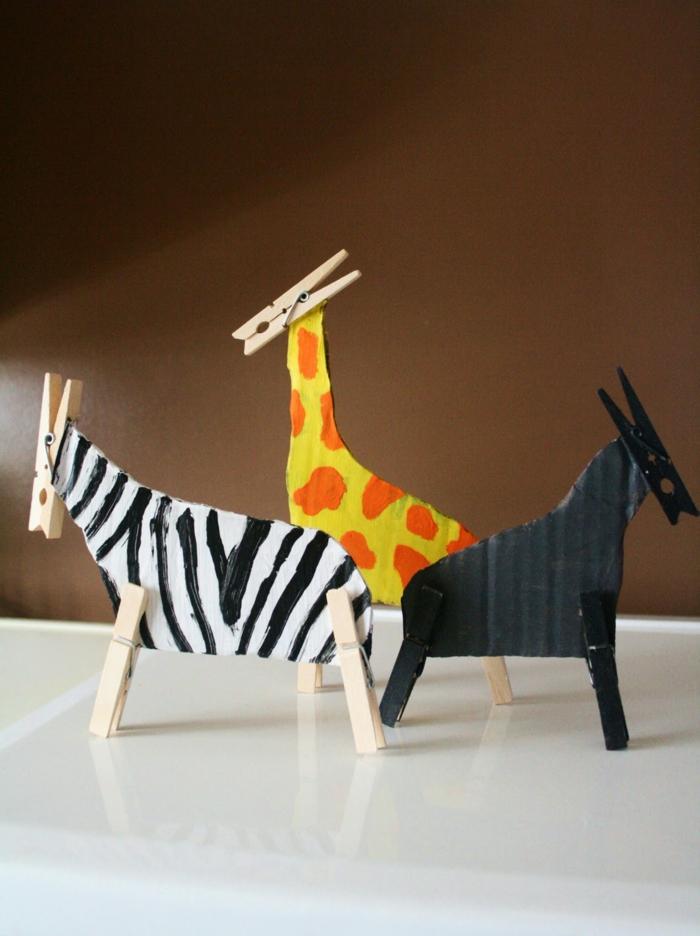 kreative bastelideen wäscheklammern coole tierfiguren basteln
