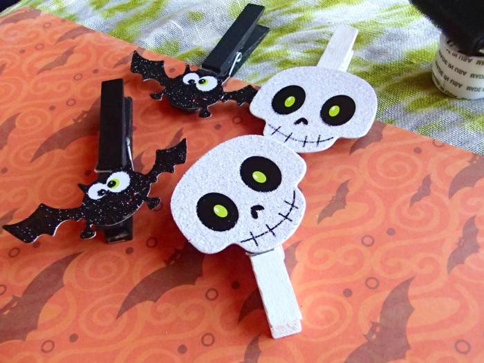 kreative bastelideen wäscheklammern dekorieren halloween thematik