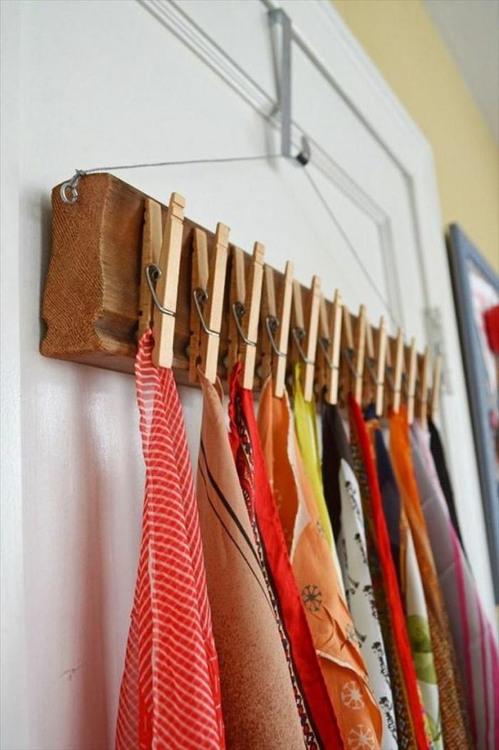 kreative bastelideen wäscheklammern tücher aufhängen