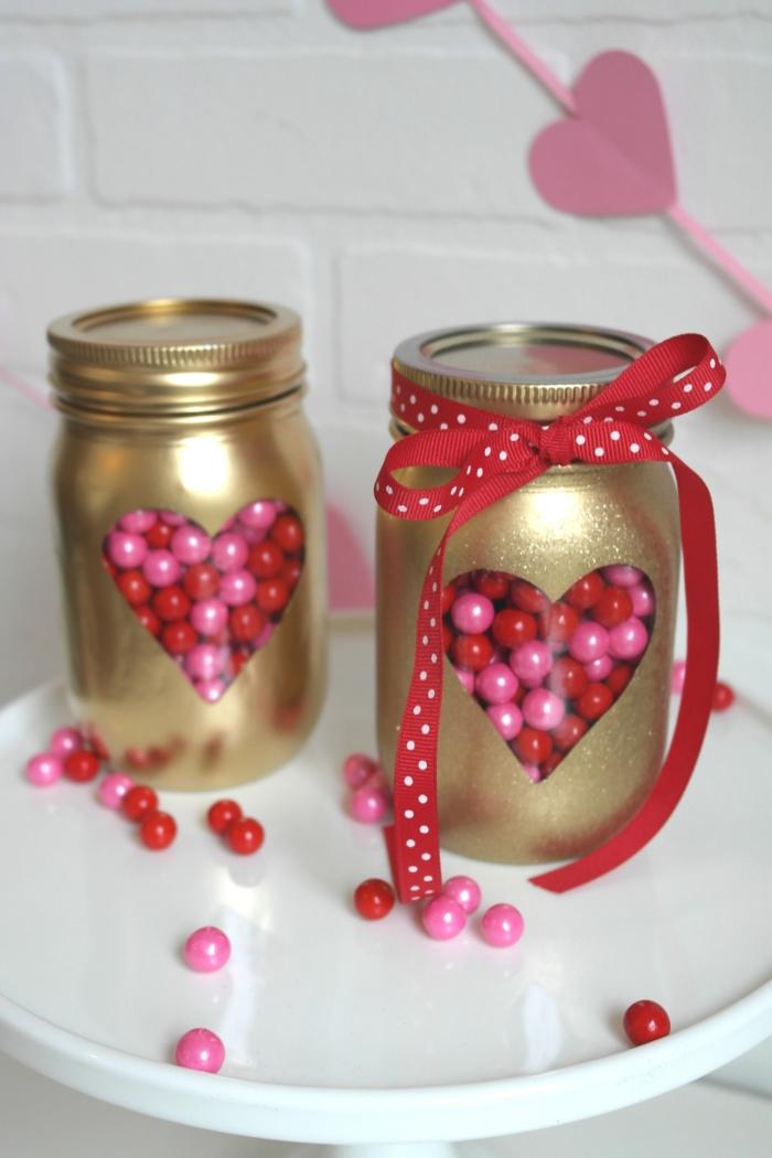 kreatives basteln einmachgläser gold geschenkideen valentinstag diy ideen