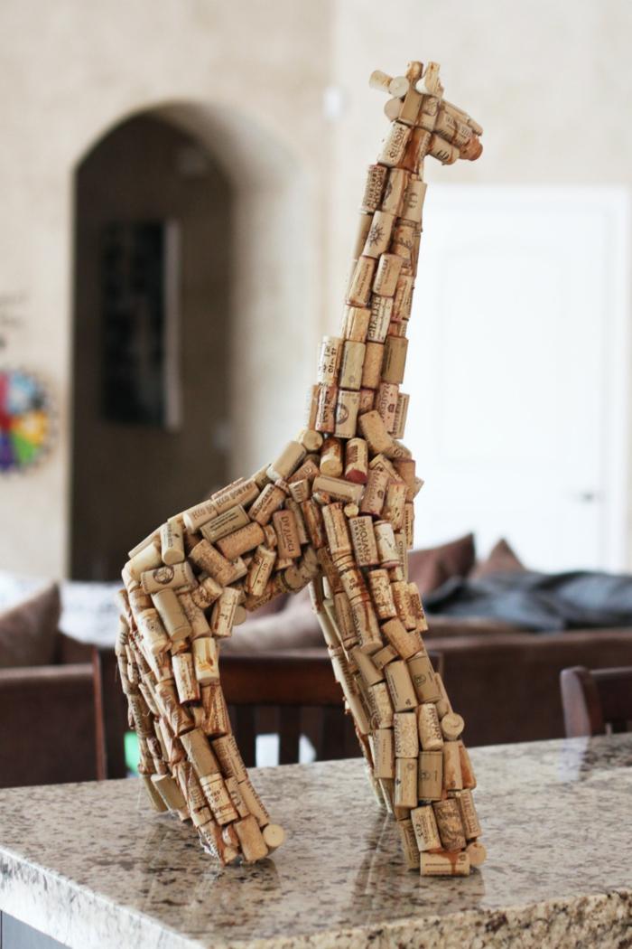 kreatives basteln kork figur giraffe