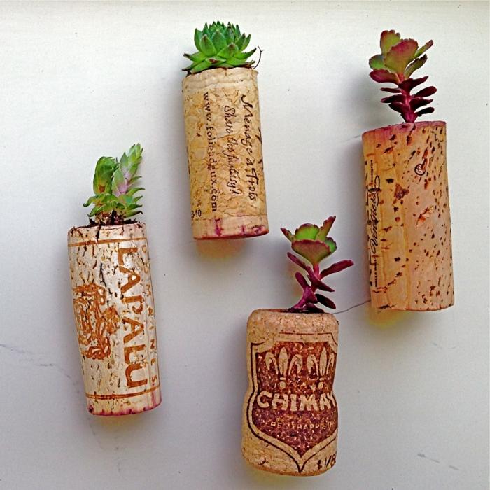kreatives basteln kork originelle pflanzenbehälter wandgestaltung ideen