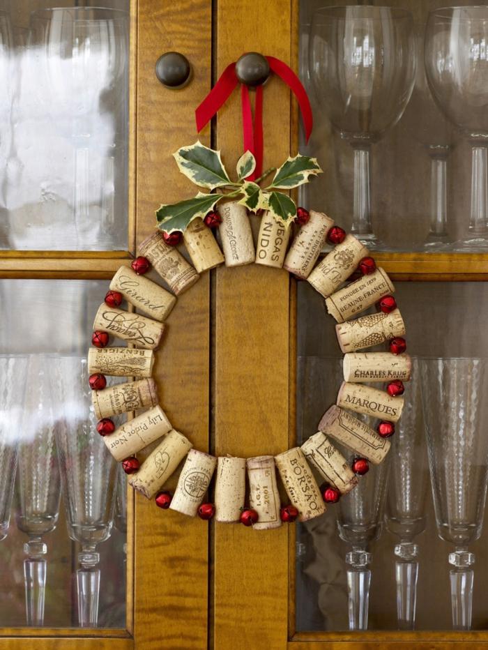 kreatives basteln korken weihnachtskranz dekoideen weihnachten
