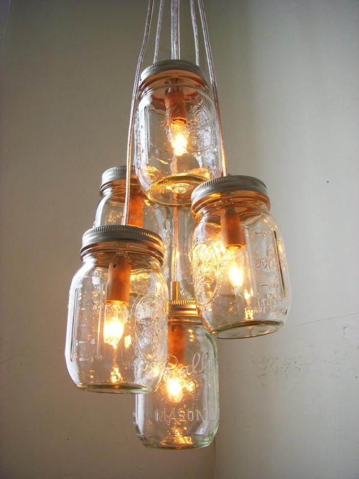 kreatives basteln leuchter basteln einmachgläser verwenden