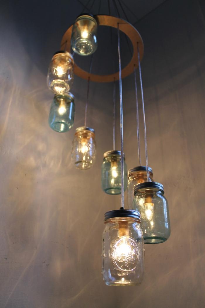 kreatives basteln pendellampe einmachgläser beleuchtung ideen