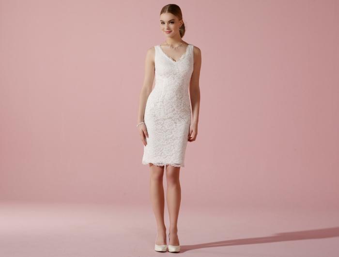 kurze brautkleider 2016 elegante linie weiß etui kleid stretch spitze sommerkleid lilly.de