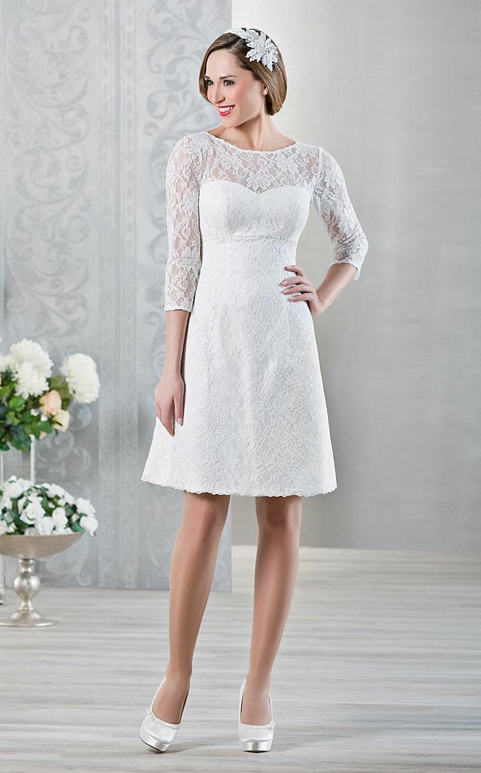 kurze brautkleider 2016 elegante linie weiß spitze blumenmuster lange ärmel hochzeitskleid romantic brautgalerie